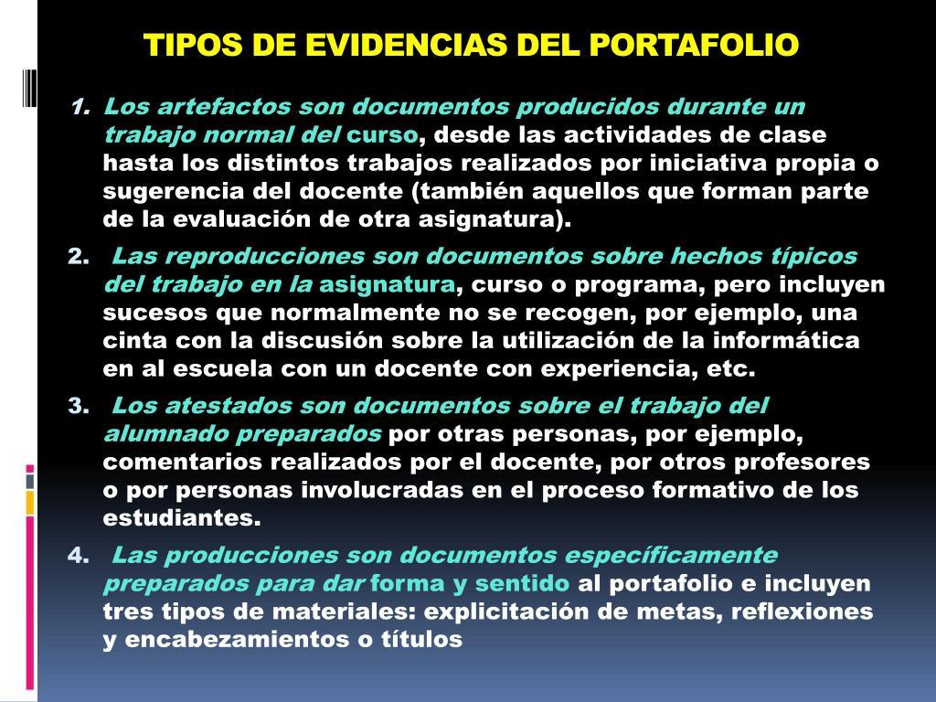 TIPOS DE EVIDENCIAS DEL PORTAFOLIO
