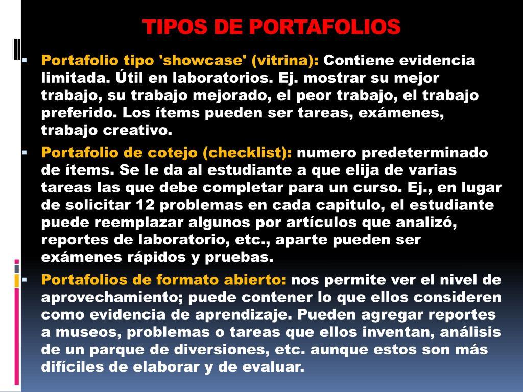 TIPOS DE PORTAFOLIOS