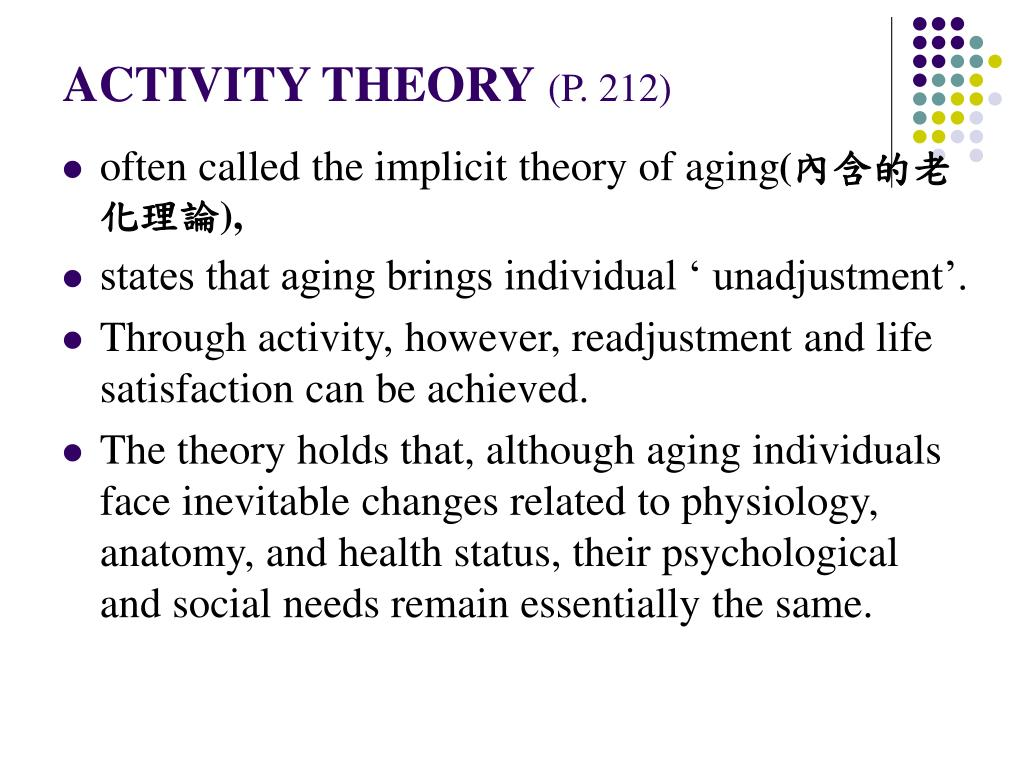 """activity theory of aging essay Two theories of ageing activity theory: """"the activity theory of aging proposes that older adults are happiest when they stay active and maintain social interactions."""