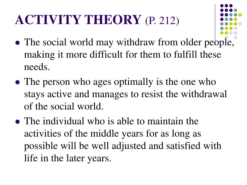 activity theory of aging Activity theory (aging) the common-sense idea behind many programs and services for older adults rests on the proposition that activities in and of themselves have important benefits and.
