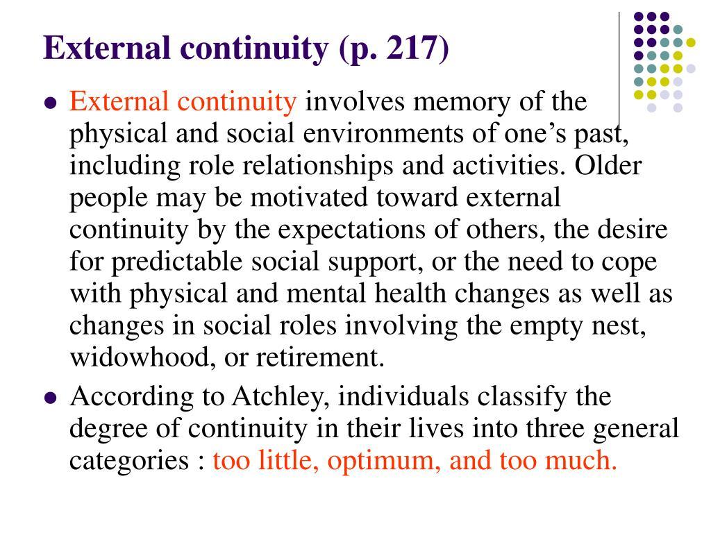 External continuity (p. 217)