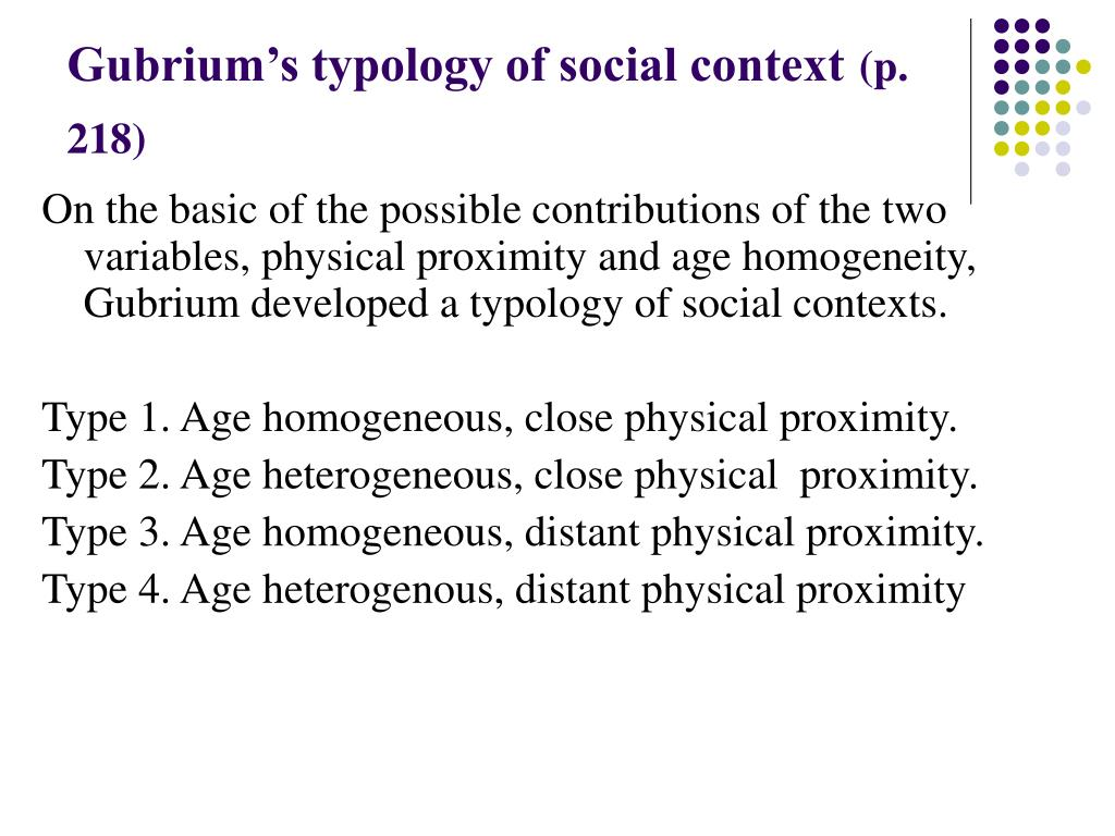 Gubrium's typology of social context