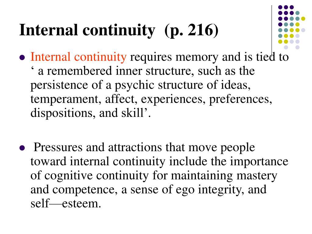 Internal continuity  (p. 216)
