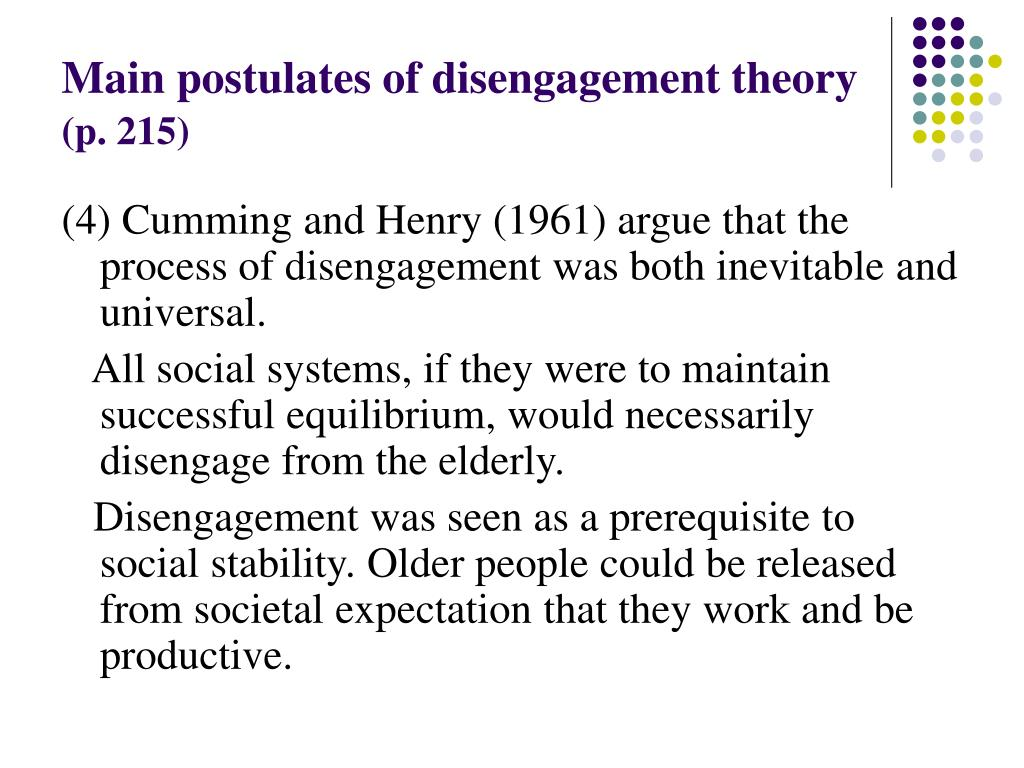 Main postulates of disengagement theory