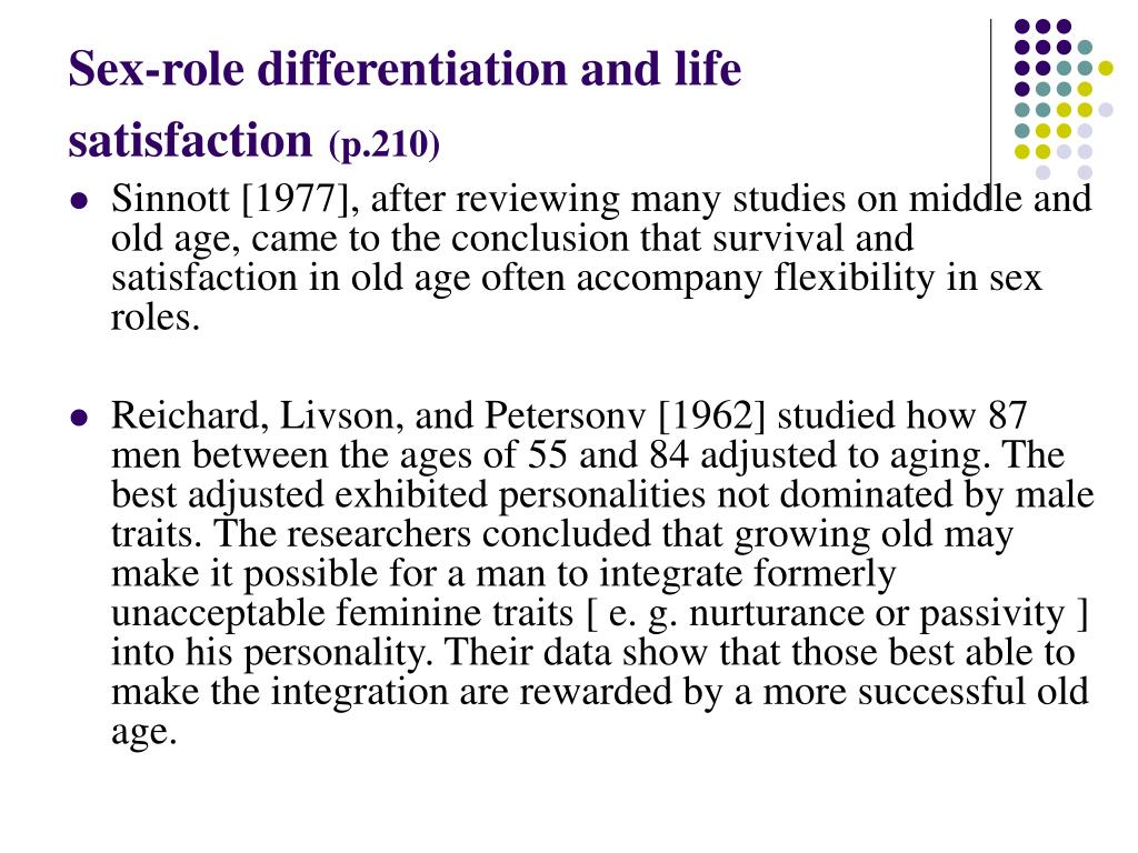 Sex-role differentiation and life satisfaction