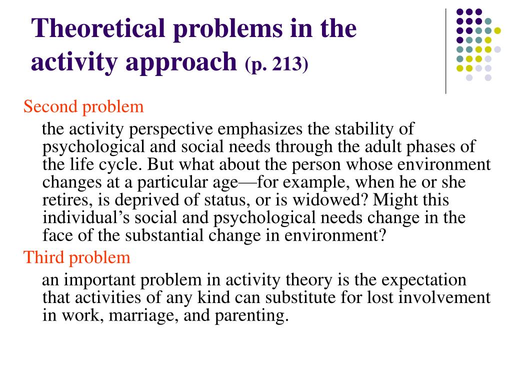 Theoretical problems in the activity approach