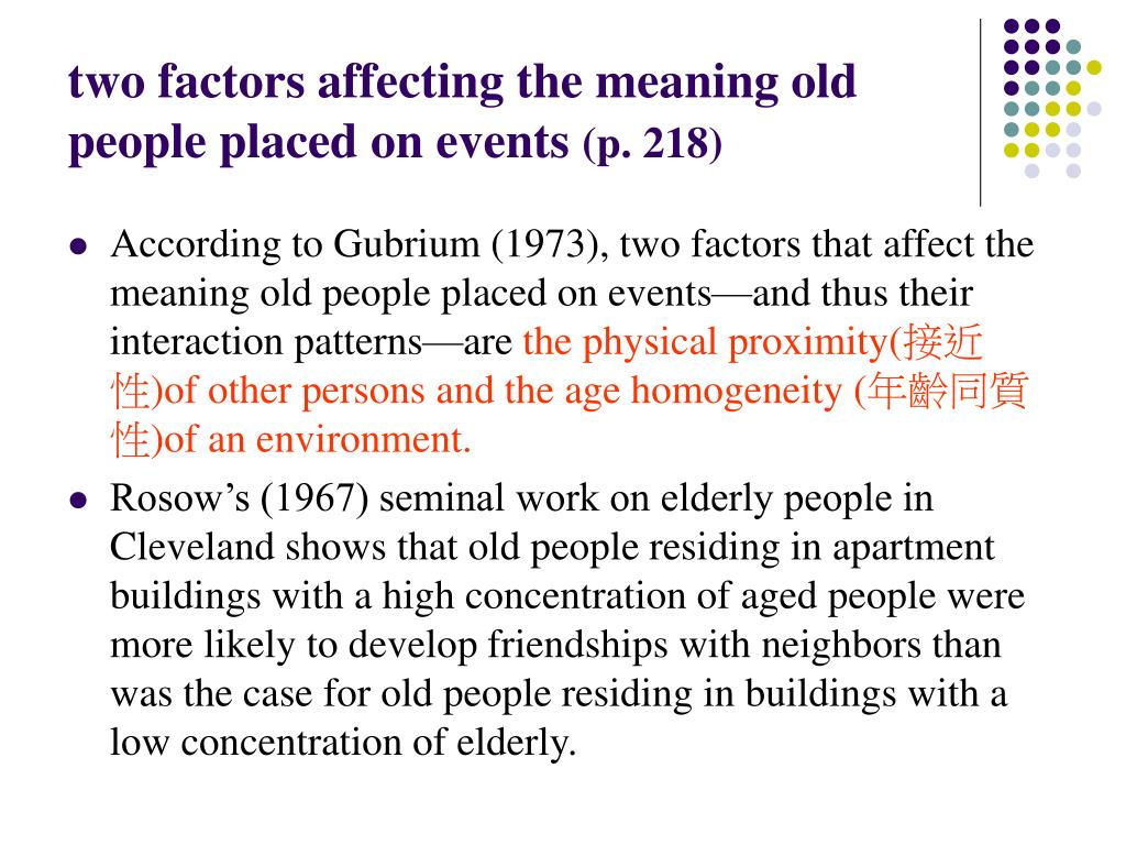 two factors affecting the meaning old people placed on events