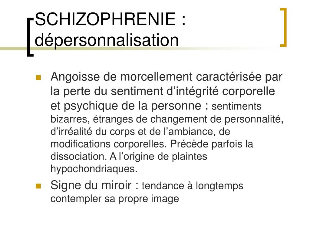 Ppt schizophrenie et bouffee delirante aigue powerpoint for Syndrome du miroir