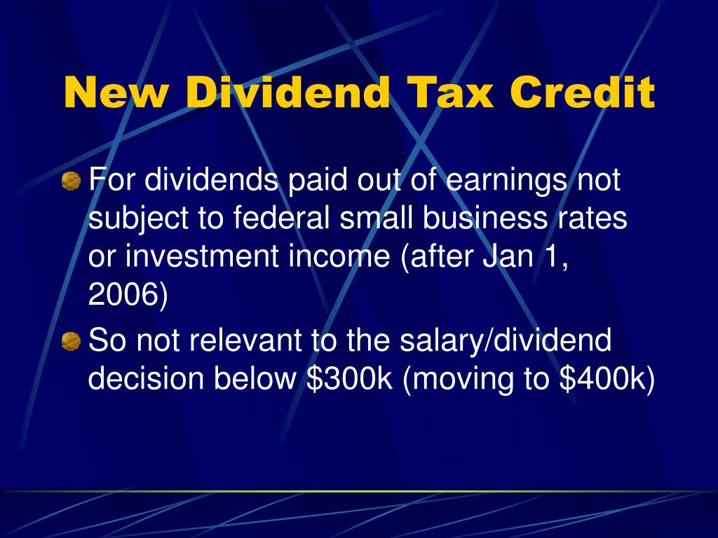 New Dividend Tax Credit