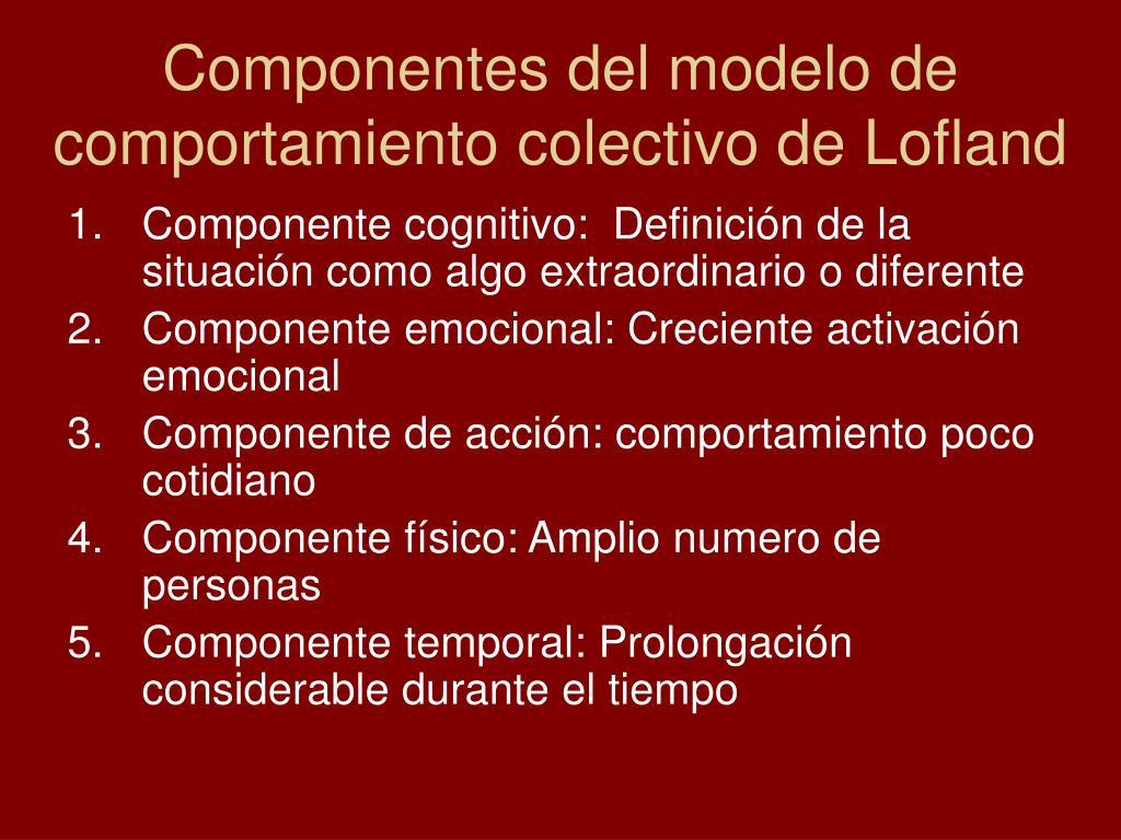 Componentes del modelo de comportamiento colectivo de Lofland