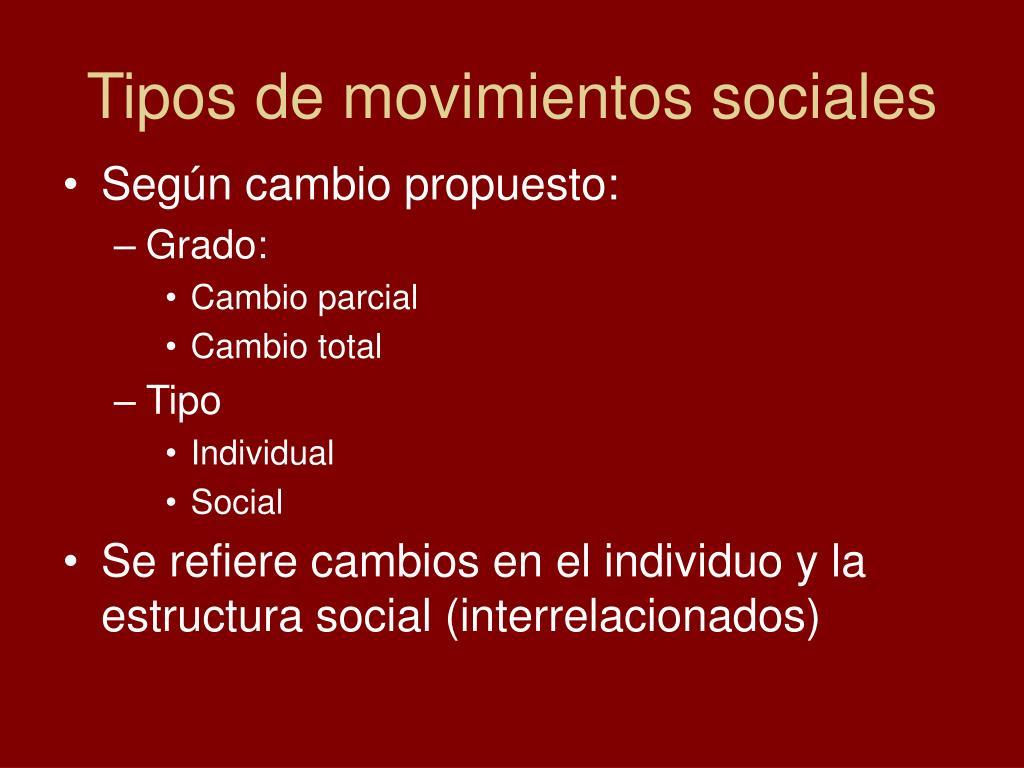 Tipos de movimientos sociales
