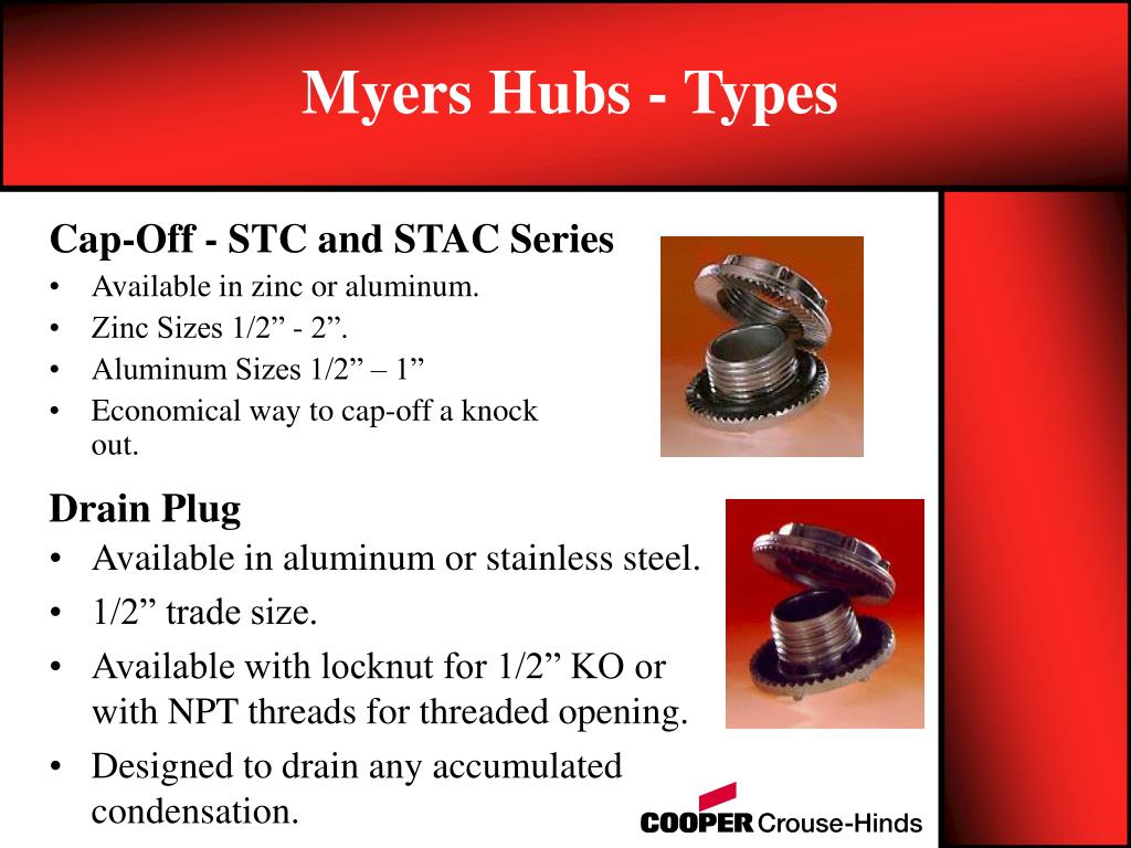 Myers Hubs - Types