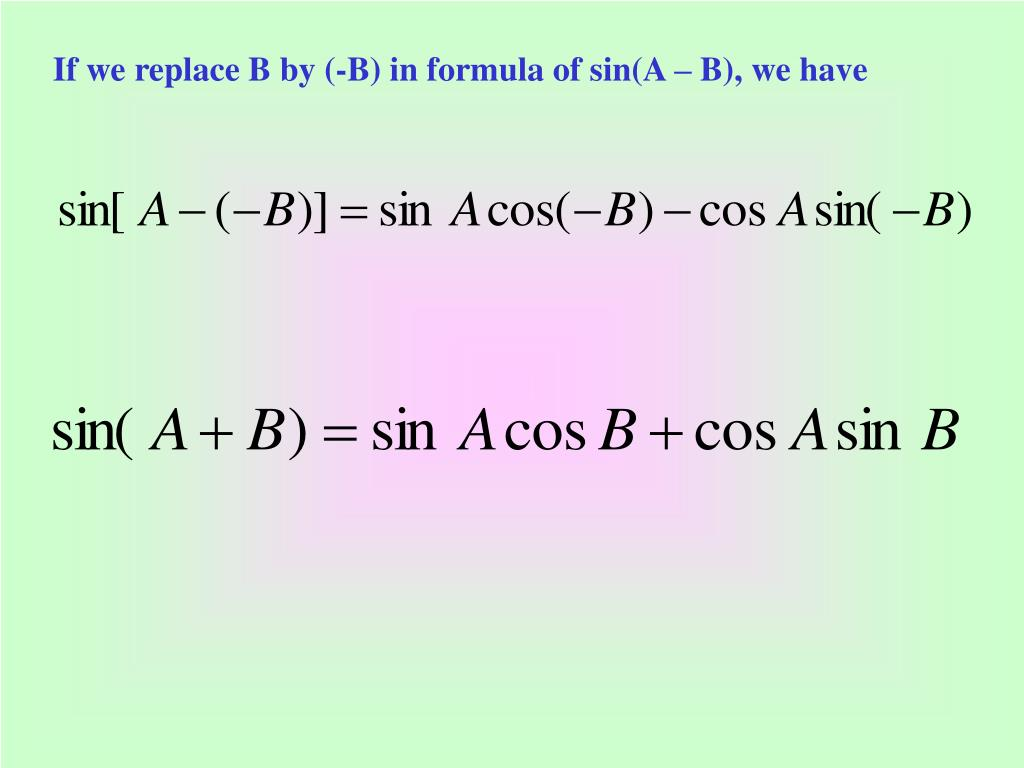 If we replace B by (-B) in formula of sin(A – B), we have
