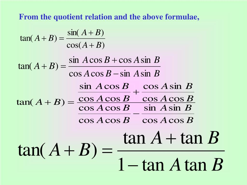 From the quotient relation and the above formulae,