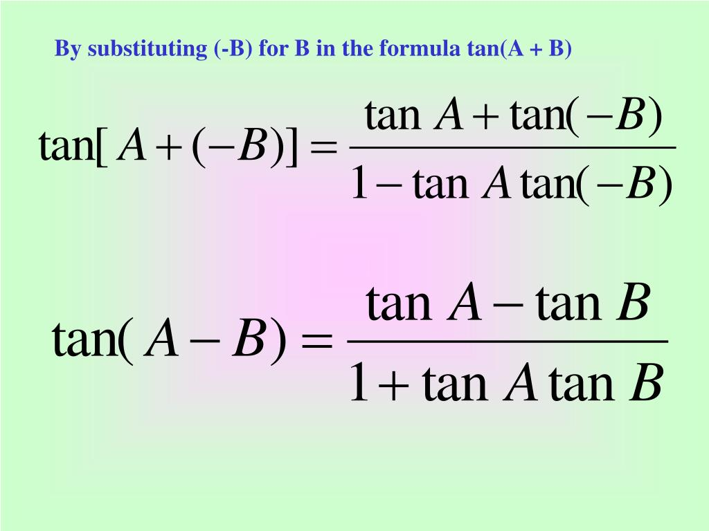 By substituting (-B) for B in the formula tan(A + B)