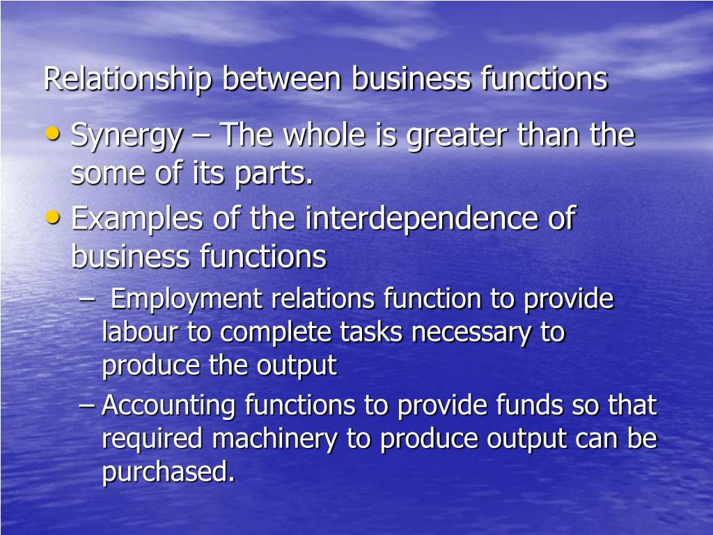 Relationship between business functions