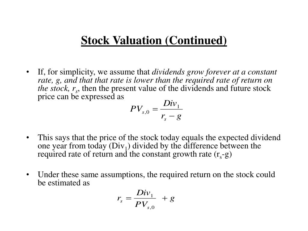 Stock Valuation (Continued)