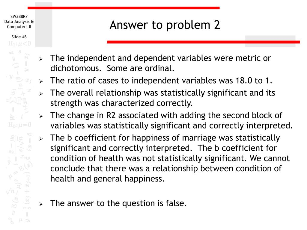 Answer to problem 2