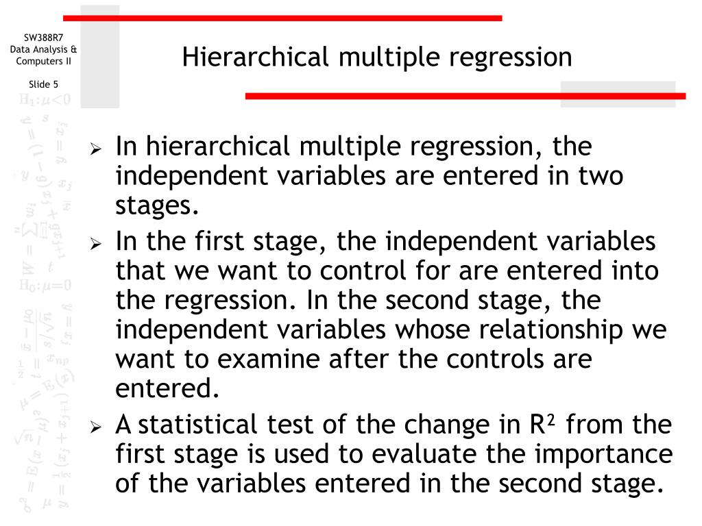 Hierarchical multiple regression