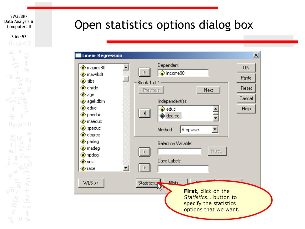 Open statistics options dialog box