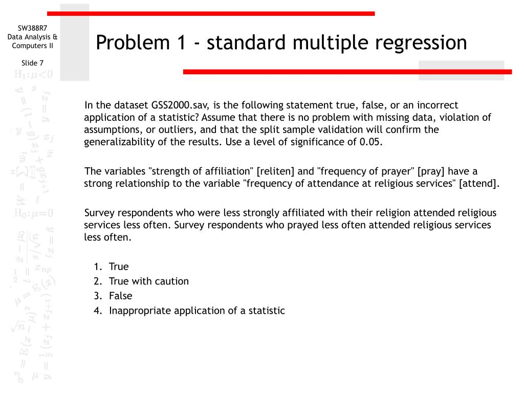 Problem 1 - standard multiple regression