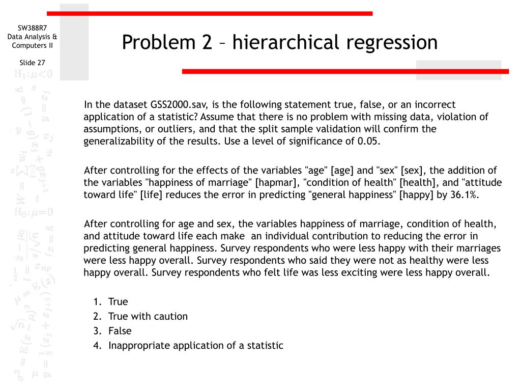 Problem 2 – hierarchical regression