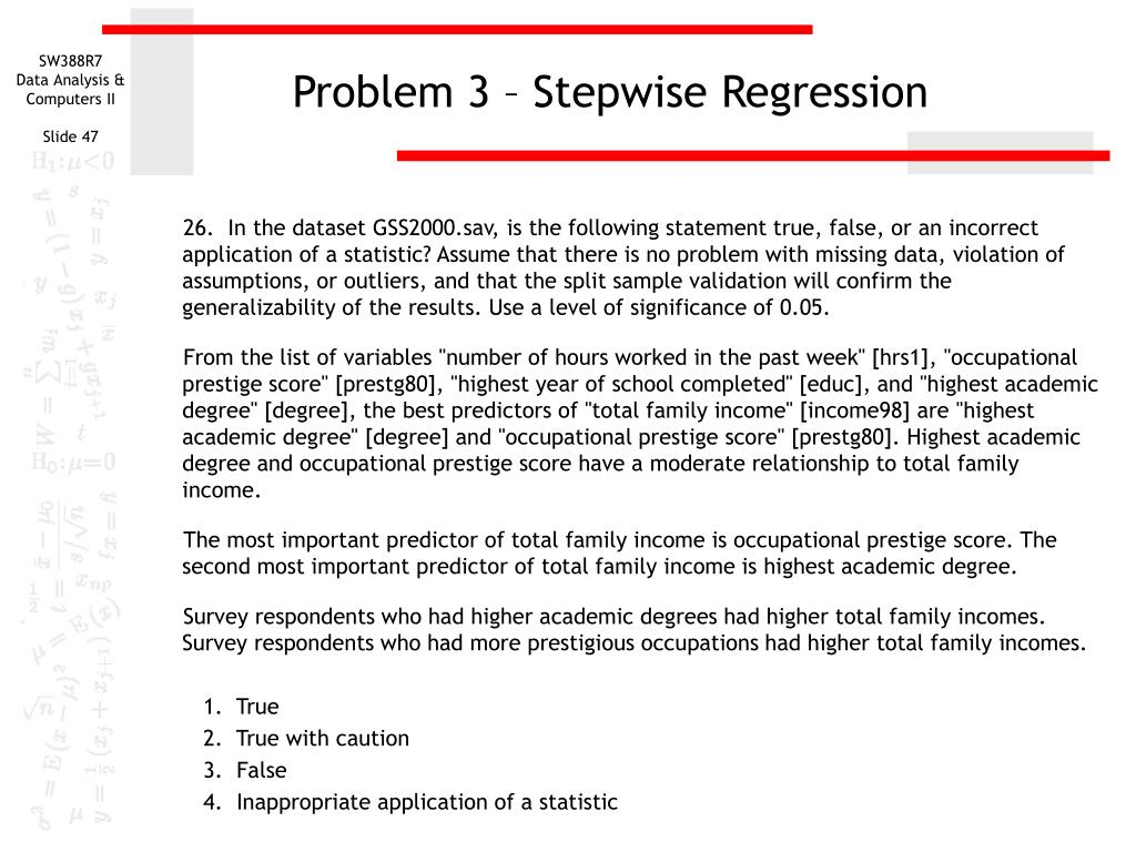 Problem 3 – Stepwise Regression