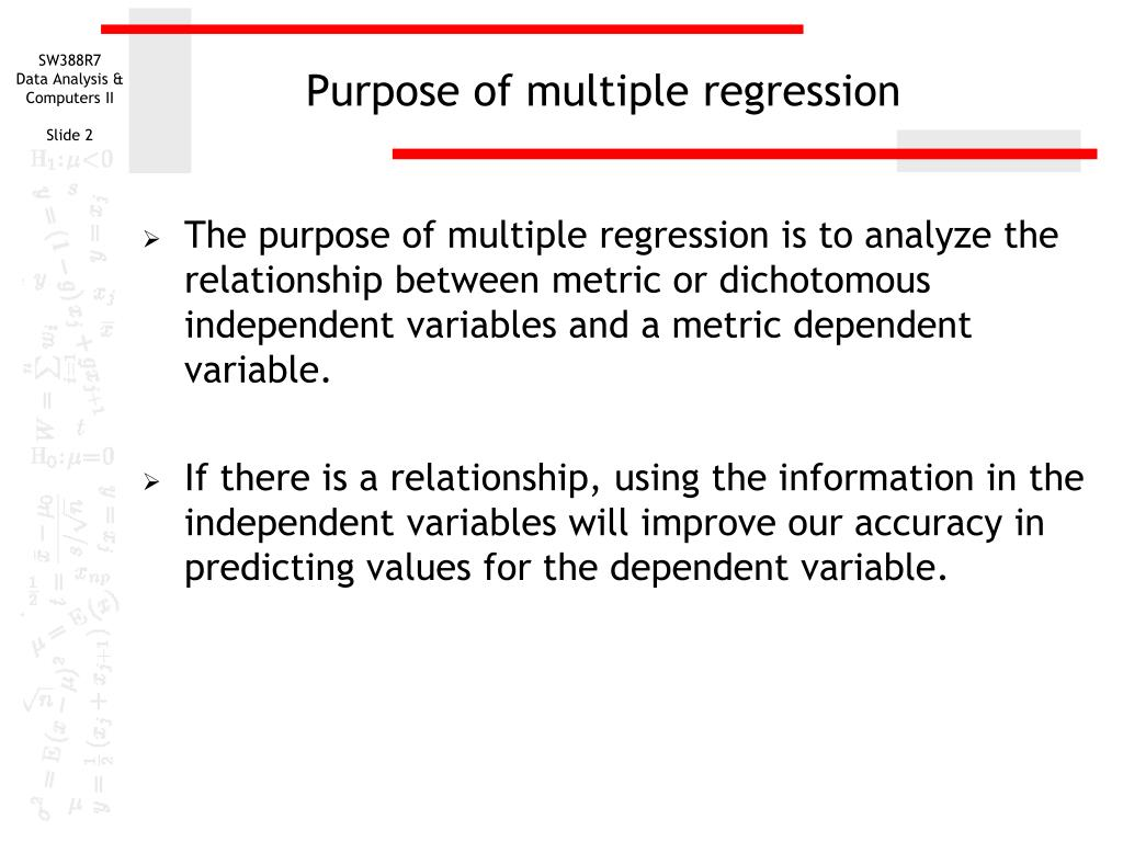 Purpose of multiple regression