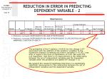 reduction in error in predicting dependent variable 2