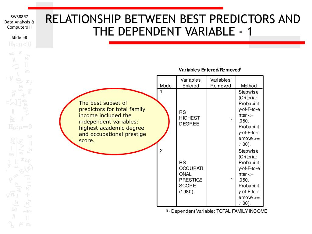 RELATIONSHIP BETWEEN BEST PREDICTORS AND THE DEPENDENT VARIABLE - 1