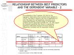 relationship between best predictors and the dependent variable 2