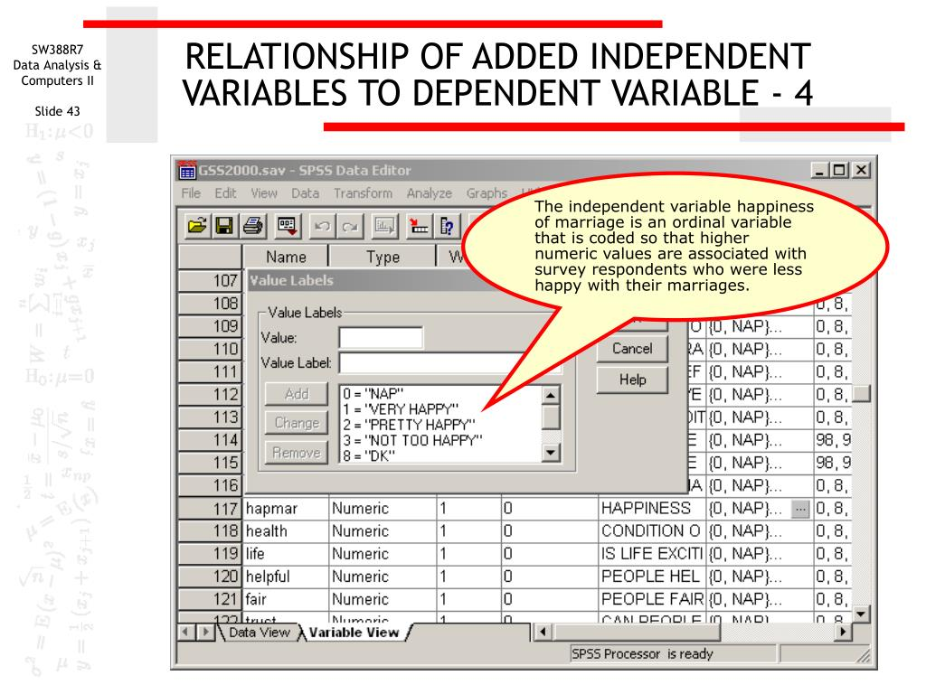 RELATIONSHIP OF ADDED INDEPENDENT VARIABLES TO DEPENDENT VARIABLE - 4