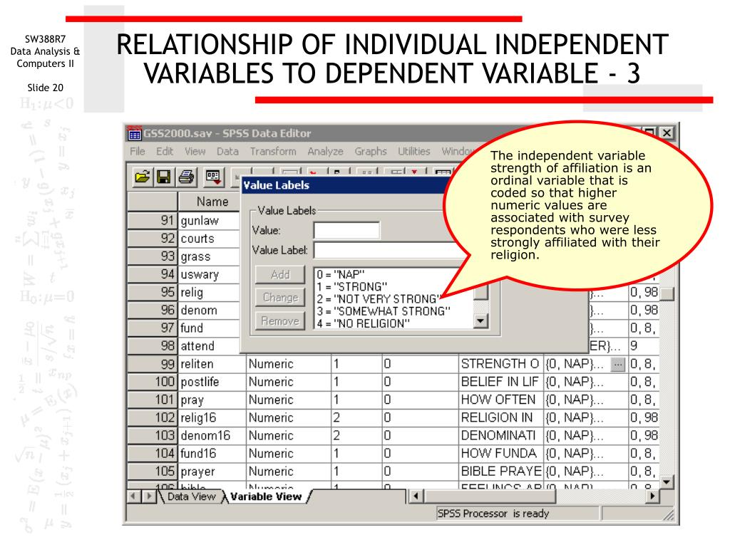 RELATIONSHIP OF INDIVIDUAL INDEPENDENT VARIABLES TO DEPENDENT VARIABLE - 3