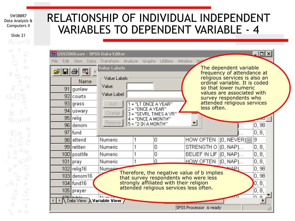 RELATIONSHIP OF INDIVIDUAL INDEPENDENT VARIABLES TO DEPENDENT VARIABLE - 4