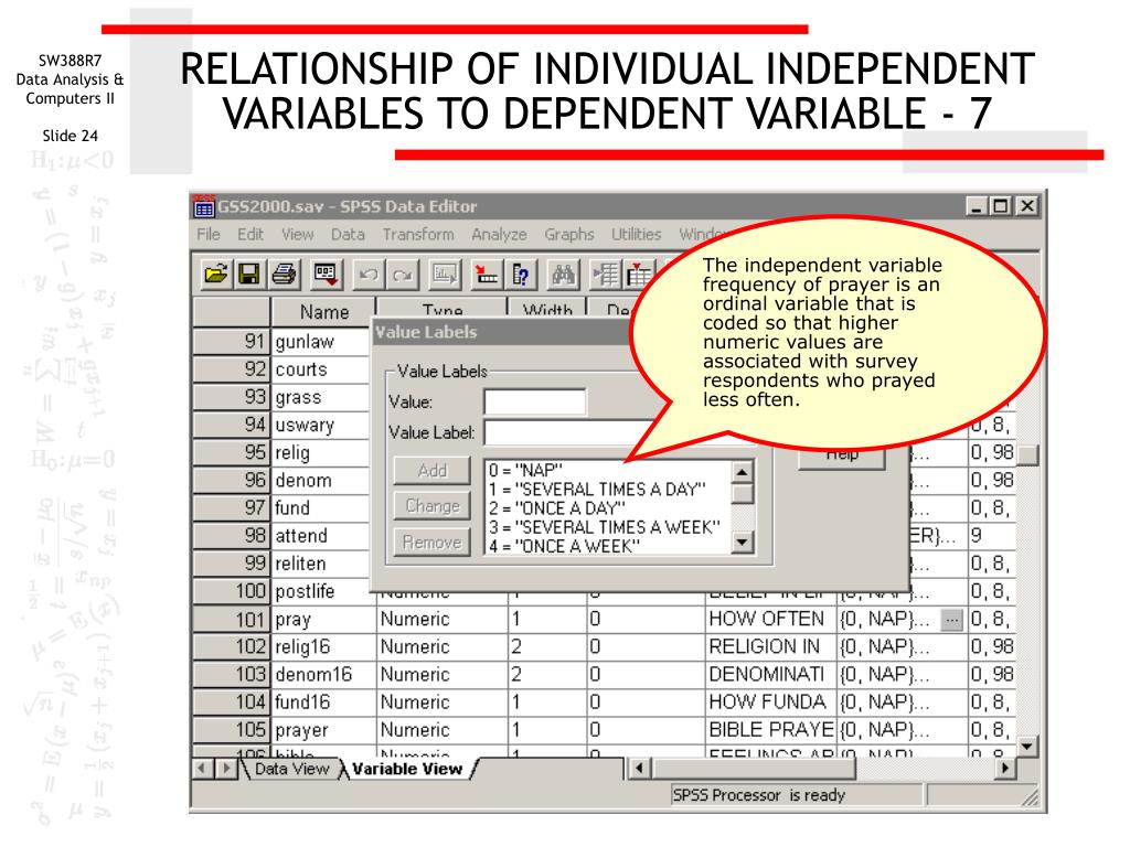 RELATIONSHIP OF INDIVIDUAL INDEPENDENT VARIABLES TO DEPENDENT VARIABLE - 7