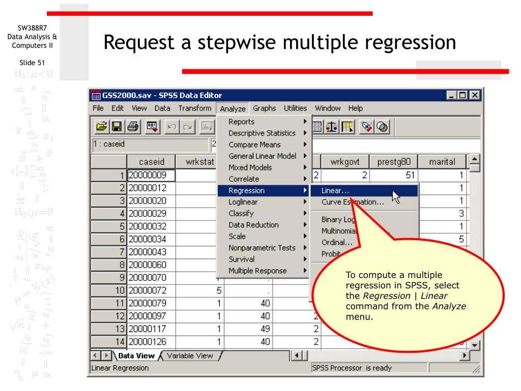 Request a stepwise multiple regression