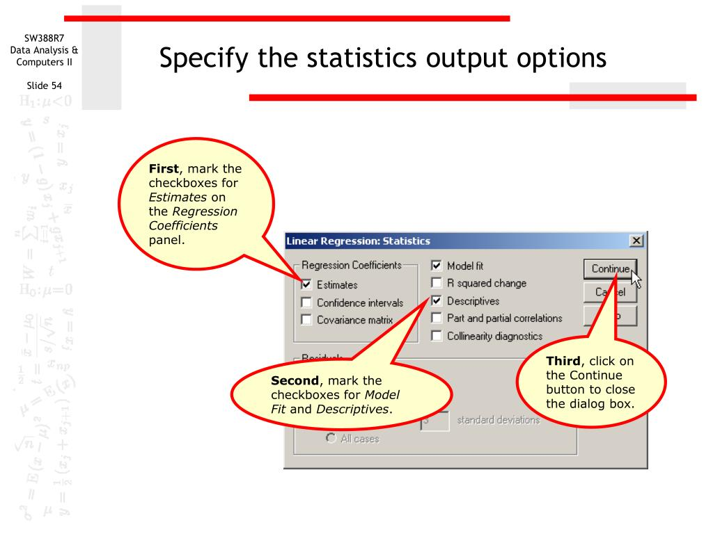 Specify the statistics output options