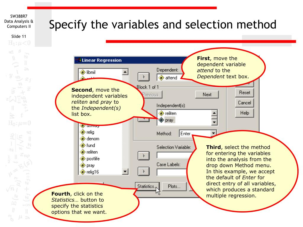 Specify the variables and selection method
