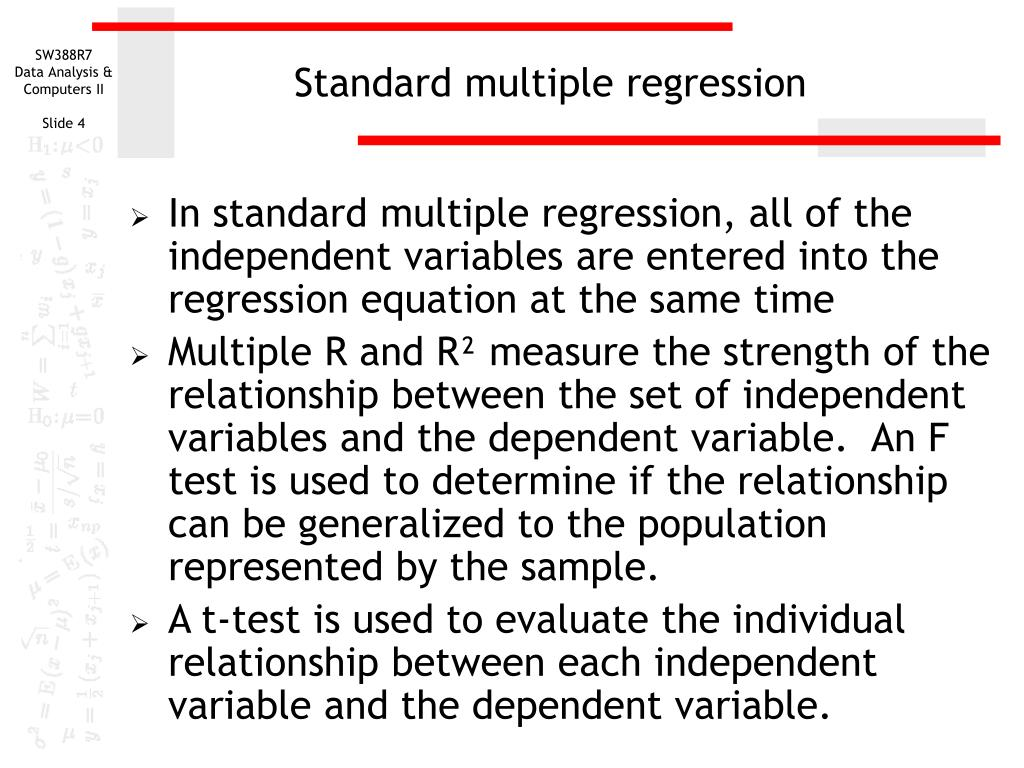 Standard multiple regression