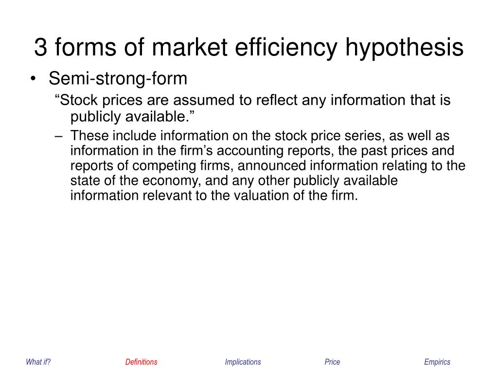 3 forms of market efficiency hypothesis