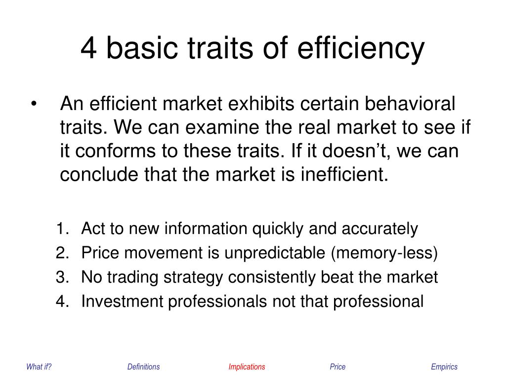 4 basic traits of efficiency