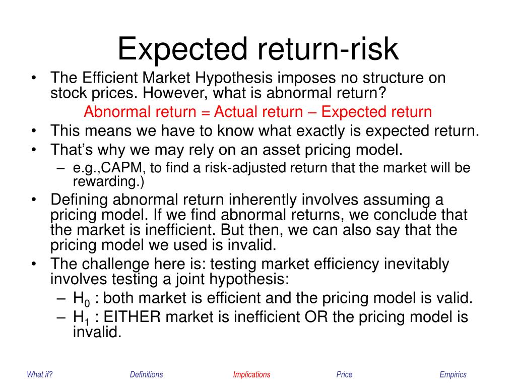 Expected return-risk