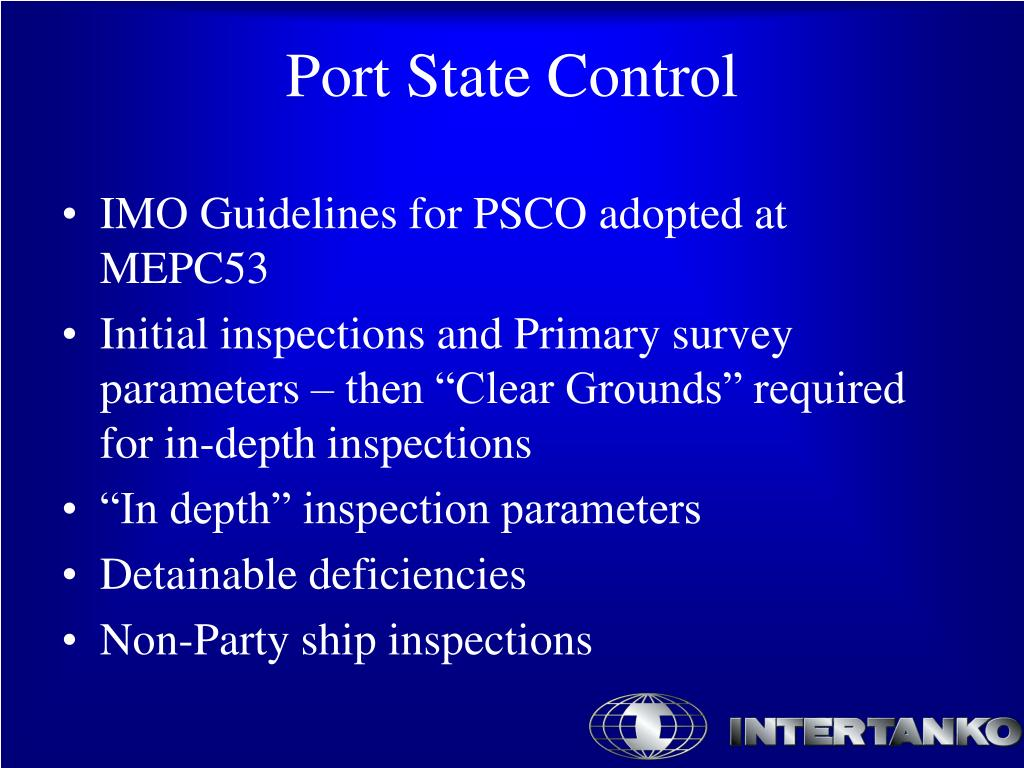 IMO Guidelines for PSCO adopted at MEPC53