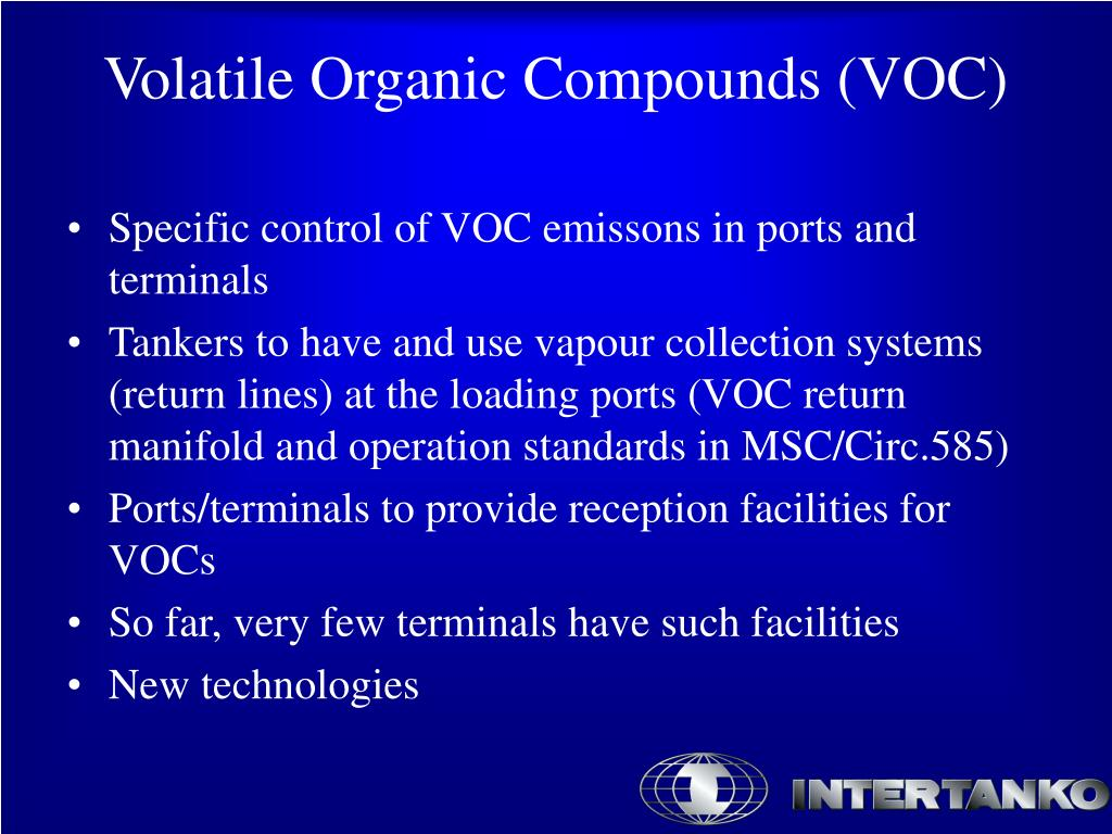 Specific control of VOC emissons in ports and terminals