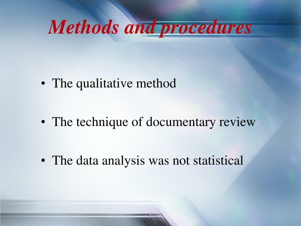 Methods and procedures