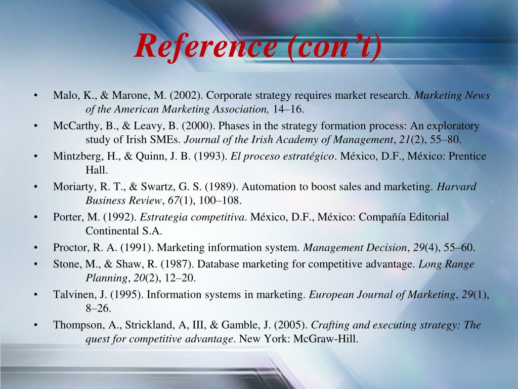 Reference (con't)