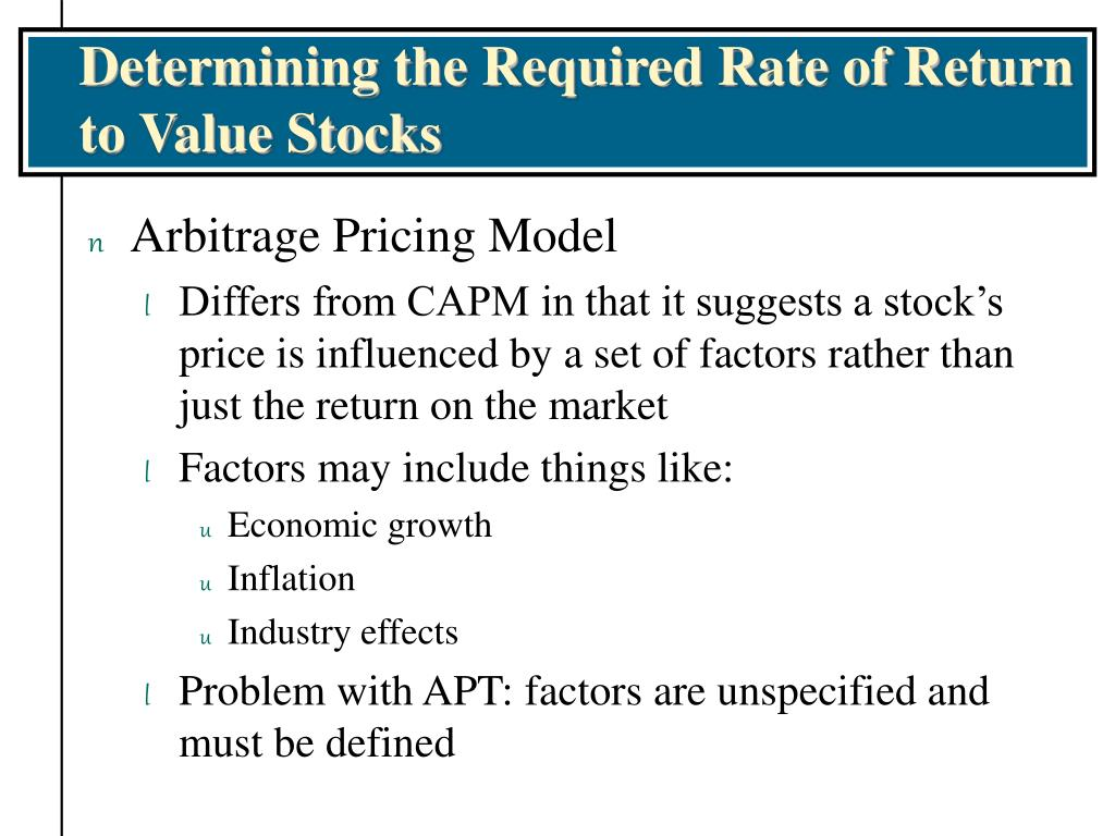 Determining the Required Rate of Return to Value Stocks