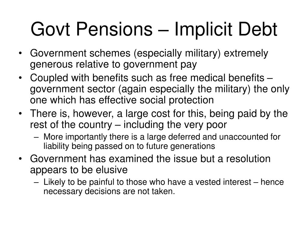 Govt Pensions – Implicit Debt