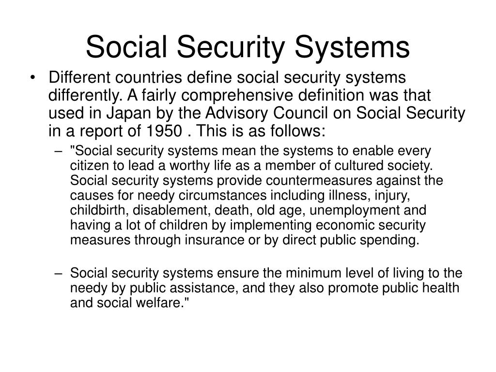 Social Security Systems