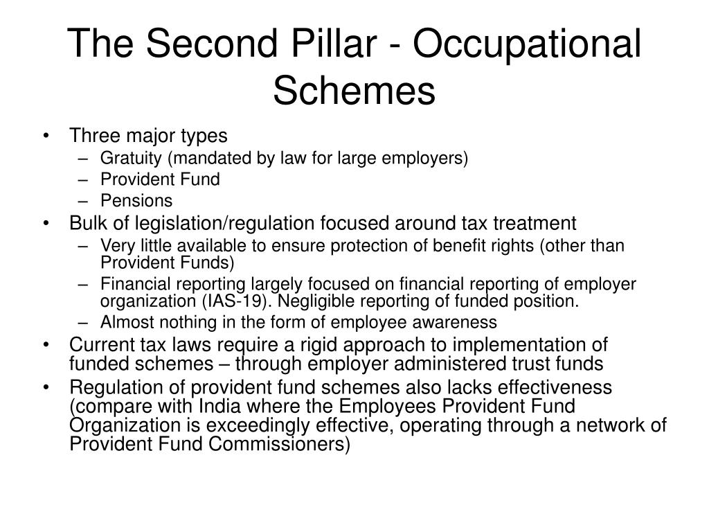 The Second Pillar - Occupational Schemes